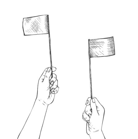 Vector illustration of aircraft marshalling signal. Human hands holding two small flags making sign like airport worker to plane. Vintage hand-drawn style.