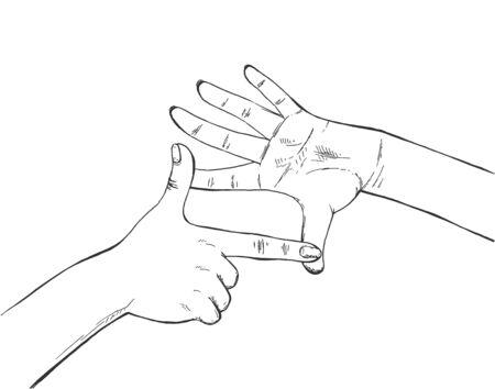 Vector illustration of framing image capture finger sign. Human hands making photo border frame cropping gesture. Vintage hand-drawn style.