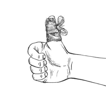 Vector illustration of trauma healing. Injured big finger covered in medical bandage dressing aid. Vintage hand drawn style.