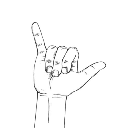 Vector illustration of shaka calling finger sign sketch. Hand showing phone gesture. Vintage hand-drawn style.  イラスト・ベクター素材