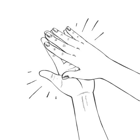 Vector illustration of clapping acclaim sign. Hands doing applause gesture. Applaud expression symbol. Vintage hand-drawn style.