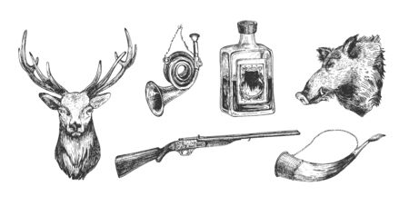 Vector illustration of hunting objects set. Hunters house elements. Deer and boar head, hunt and drinking horn, strong alcohol drink bottle, gun. Vintage hand drawn style.