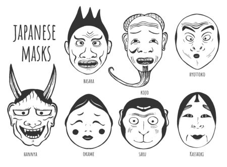 Vector illustration of oriental traditional theatrical masks set. Basara, Kojo, Hyottoko, Hannya, Okame, Saru, Kasshiki characters. Japanese theatre. Vintage hand drawn style.