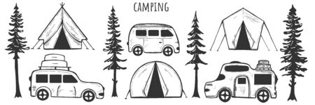 Vector illustration of camp set. Camping tents and car vehicle campers collection. Simple style sketchy cute drawings. Vintage hand drawn style.