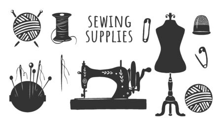 Vector illustration of sewing supplies tools and instruments icons set. Mannequin, machine, pins and needles, thread bobbin and knitting yarn ball, thimble. Vintage hand drawn style.