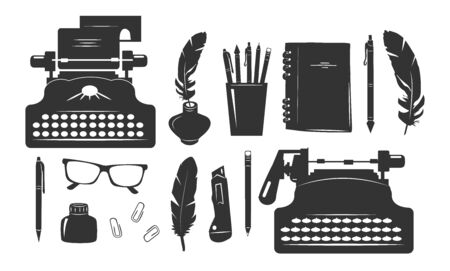Writer supplies stationery icons set