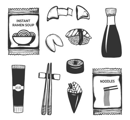 Vector illustration of Japanese, Korean, Chinese Asian oriental food icons set. Instant ramen soup noodles, wasabi, chopsticks, sushi roll, fortune cookie, soy sauce. Vintage hand drawn style.