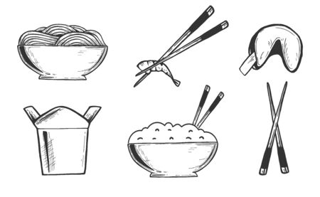 Vector illustration of Japanese, Korean, Chinese Asian oriental takeaway food icons set. Ramen noodles, rice, chopsticks, fortune cookie, wok box. Vintage hand drawn style.  イラスト・ベクター素材