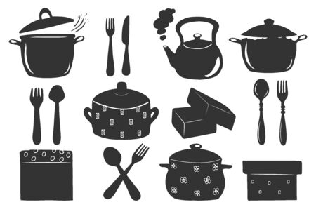 Vector illustration of kitchen appliance and tableware set. Pot, pan, kettle, spoon, fork, knife, box. Vintage hand drawn style.