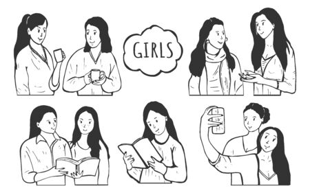 Vector illustration of young ladies simple women portraits set. Girl friends drinking coffee or tea, reading books, making selfie photo, talking and gossiping. Vintage hand drawn style.  イラスト・ベクター素材