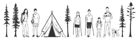 Vector illustration of active weekend time spending. Camping and hiking family. Man and woman, mom, dad, son and daughter, dog pet. Tent and pine trees nature. Vintage hand drawn style.