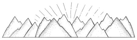 Vector illustration of natural scene. Simple linear sketchy mountains landscape strip panorama. Vintage hand drawn style.