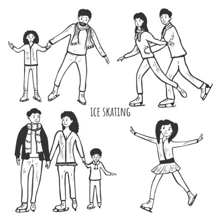 Vector illustration of ice skating activities set. Family time. Man and women, girls and boys. Mom, dad, son and daughter wearing skate on rink. Vintage hand drawn style.
