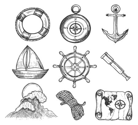 Vector illustration of sea travelling sketch style icons set. Lifebuoy, compass, anchor, boar or yacht, steering wheel, spyglass, sea waves, rope, map. Vintage hand drawn style.