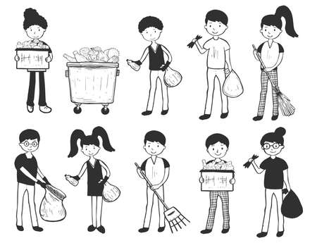 Vector illustration of the cartoon characters. People doing outdoor cleaning, throwing out the garbage, sweeping, raking. Simple linear hand drawn sketch style. Ilustracja