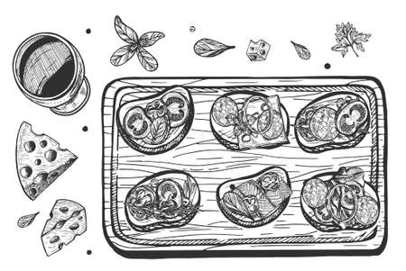 Vector hand drawn illustration of a mexican tapas or Italian bruschetta sandwiches on board. Canape top view still life. Vintage hand drawn engraving style.