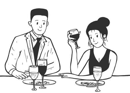 Vector illustration of a couple dinner date. Wine drinking at the restaurant. Romance man and woman flirting. Cartoon sketch simple linear hand drawn style.