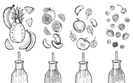 Vector illustration of delicious detox juices smoothies. Tropical multi fruit banana and pineapple, orange and peach, apple and spinach, berries raspberry, strawberry, cherry. Cartoon sketch style.