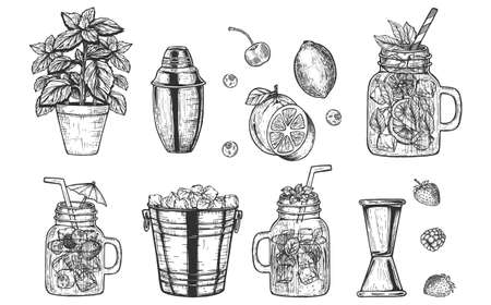 Vector illustration of refreshing summer cocktails. Bar bartender tools Cobbler shaker, jigger, ice bucket and mint in a pot. Cartoon sketch hand drawn style.