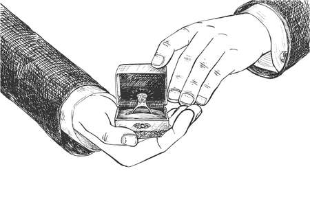 Vector illustration of a man gentleman hands showing to the viewer an engagement ring in a box. Marriage proposal moment. Vintage hand drawn engraving style.
