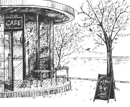 Vector illustration of a modern cool outdoor cafe space. Street exterior view of the cozy minimalistic restaurant. Vintage hand drawn engraving style.