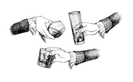 Vector illustration of a female hands with different glasses. Tall long drink, whiskey, cognac or bourbon glass. How to hold right etiquette. Vintage hand drawn engraving style.