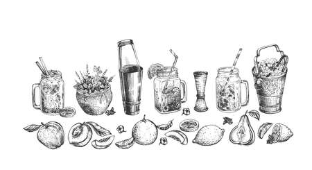 Vector illustration of a cocktail set. Mojito, Moscow mule, tropical and fresh cocktails, ice bucket, boston shaker, pot with mint. Fruits peaches and lime wedges. Vintage hand drawn engraving style.