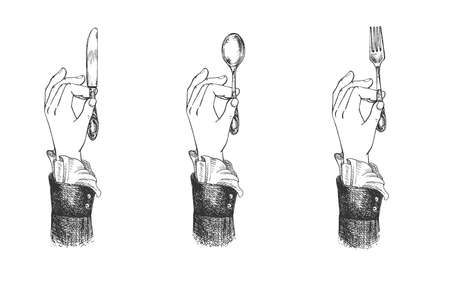 Vector illustration of female hands with a fancy cuff holding butter knife, fork and spoon. Cutlery restaurant etiquette. Vintage hand drawn engraving style.