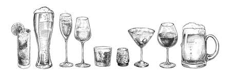 Vector illustration of different types of glasses. Tall long drink, beer weizen, Champaign, red and white wine, whiskey, liquor, martini, beer tankard mug. Vintage hand drawn engraving style.