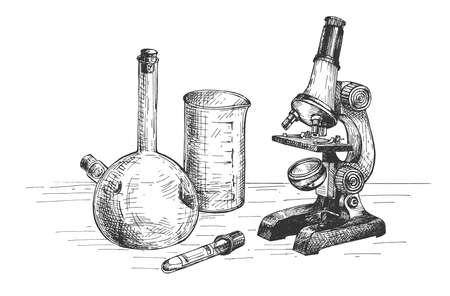 Vector illustration of a lab equipment. Microscope and a bunch of glass test tubes and beaker.