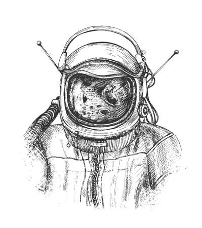 Vector illustration of the astronaut or cosmonaut in suit in space sketch. Close up shoulder portrait in protective helmet with reflection in it. Vintage hand drawn engraving style. Ilustracja
