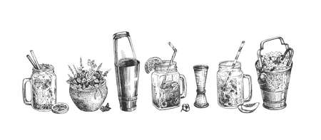 Vector illustration of a cocktail set. Mojito, Moscow mule, tropical and fresh cocktails, ice bucket, boston shaker, pot with mint. Vintage hand drawn engraving style. Ilustracja