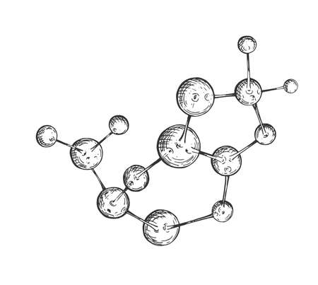Vector illustration of a big 3d molecule sketch. Science research and medicine drawing. Vintage hand drawn engraving style.