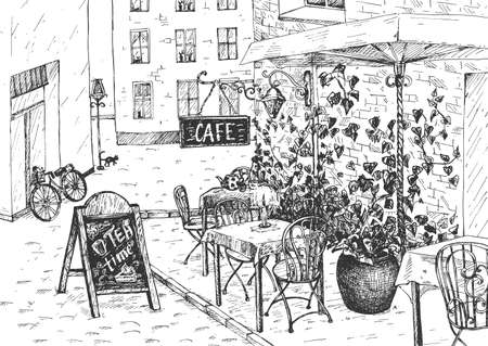 Vector illustration of the old heritage vintage cafe. Outdoor space with ornate furniture chairs and tables. Street exterior view. Vintage hand drawn engraving style.