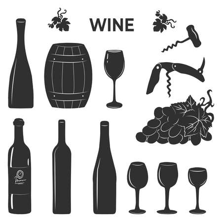 Vector illustration of wine set. Bottle, wooden barrel, glassware, corkscrew, vine grapes. Vintage hand drawn style.