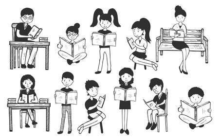Vector illustration of book lovers, readers, modern literature fans. Man, woman, children reading at home, on bench, in park, at school, in library. Vintage hand drawn style.