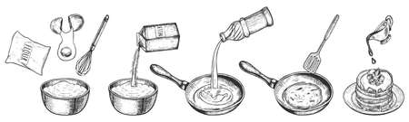 Vector illustration of fritters, scones, pancakes cooking stage. Recipe for preparation homemade sweet dishes from flour, egg, sugar and oil. Vintage hand drawn style.