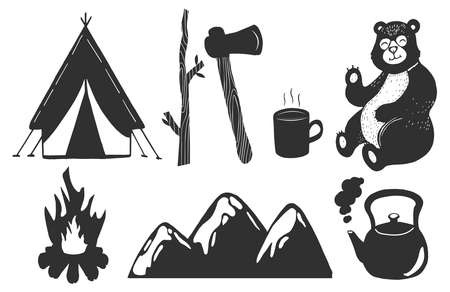 Vector illustration of camping set. Touristic tent, firewood, ax, cup of warm tea or coffee, bear, fire, mountains, boiling kettle. Vintage hand drawn style.