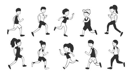 Vector illustration of running people. Athletic and healthy woman and man jogging. Active sportive lifestyle. Vintage hand drawn style.