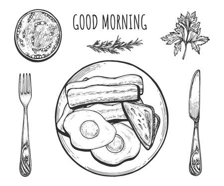Vector illustration of served breakfast. Fried eggs with bacon, bread and coffee. Good morning still life. Vintage hand drawn style. Ilustracja