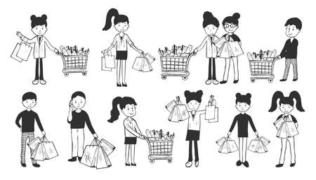 Vector illustration of shopping people. Man woman with paper bag, pushcart full of purchases buying grocery products in market place, fashion clothes and gifts in shop mall. Vintage hand drawn style Ilustracja