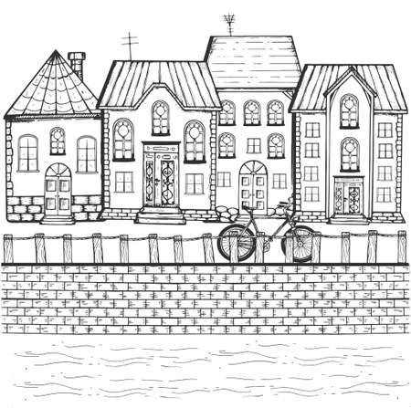 Vector hand drawn illustration of small provincial town street on river bank in vintage engraved style. Isolated on white background. Ilustracja