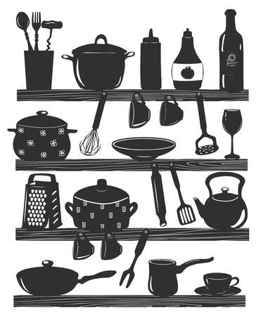 Vector illustration of cooking utensils on kitchen shelves. Spoon, fork, sauce, whisk, pot, glass, potato grinder, plate, grater, rolling pin, jezve, kettle, pan, spatula. Vintage hand drawn style
