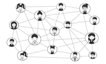 Vector illustration of people network connection. Social media wireless communication and global community. Man, woman avatar connected with net. Vintage hand drawn style. Zdjęcie Seryjne - 156656600