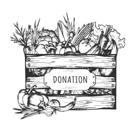 Vector hand drawn illustration of vegetables in wooden crate for donation and charity in vintage engraved style. Isolated on white background.
