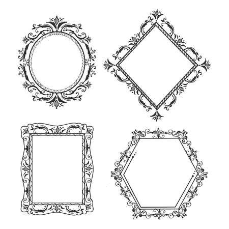 Vector hand drawn illustration of decorative ornate frames and borders different shape and form in vintage engraved style. Isolated on white background. Ilustração