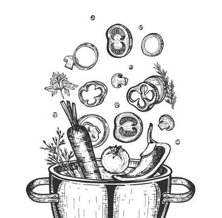 Vector hand drawn illustration of saucepan. Falling onion ring, sliced mushroom, tomatoes, greenery, pepper, carrot vegetables in boiled water pot. Vintage engraved style. Isolated on white background
