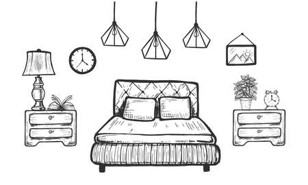 Vector hand drawn illustration of bedroom home interior. Bed with blanket and pillow, bedside-table with potted houseplant, alarm clock in vintage engraved style. Isolated on white background.