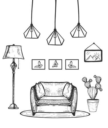 Vector hand drawn illustration of armchair with floor lamp, potted cactus, modern chandelier, picture and photos in frame hanged on wall. Living room interior in vintage engraved style.