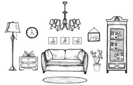 Vector hand drawn illustration of cozy home living room interior. Sofa, mat, floor lamp, chandelier, bookcase, painting and clock hanged on wall, cactus, commode in vintage engraved style Çizim